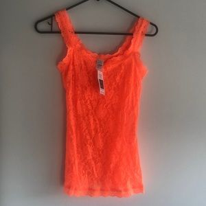 Orange lace hanky panky tank top